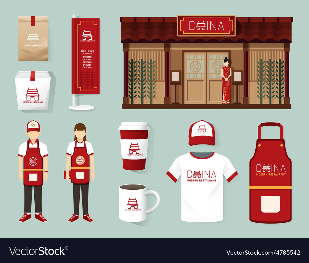 China modern restaurant cafe set shop front design vector
