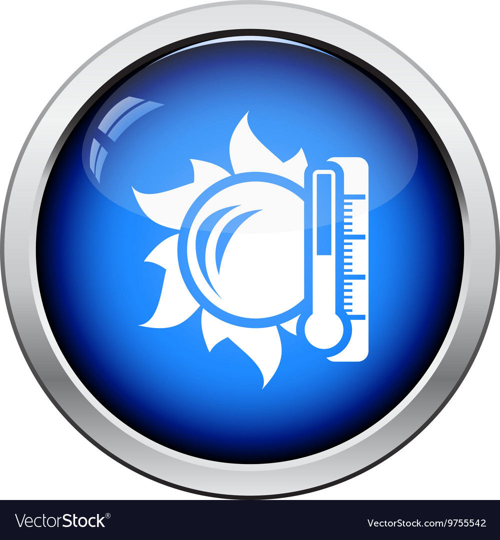 Sun and thermometer with high temperature icon vector