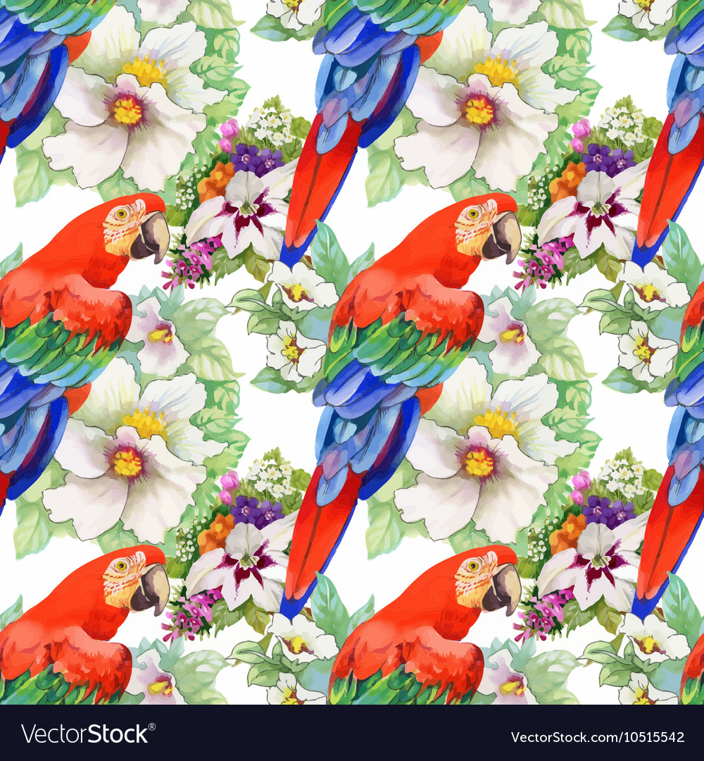 Watercolor seamless pattern with parrots and white vector