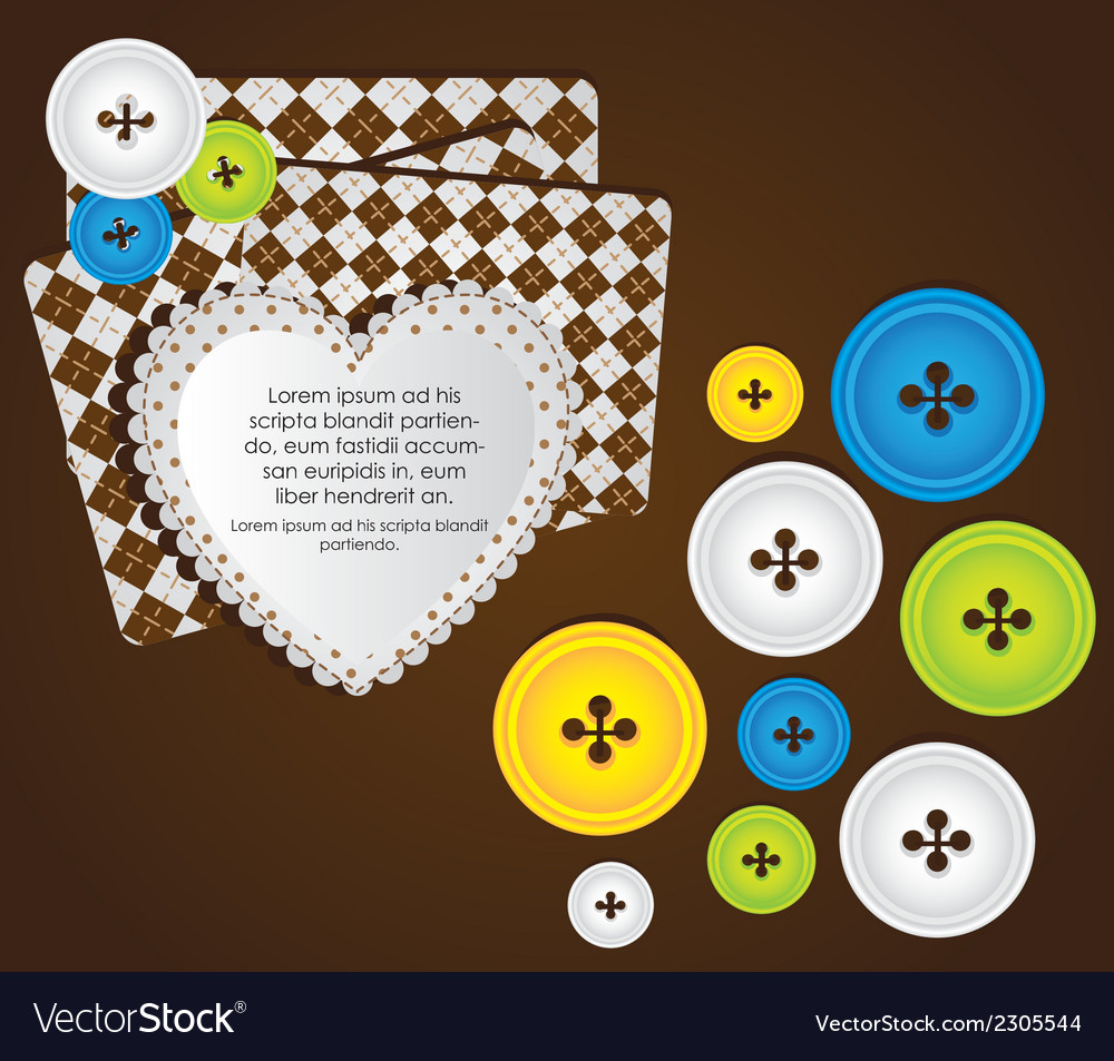 Heart with clothing buttons and balloon text vector