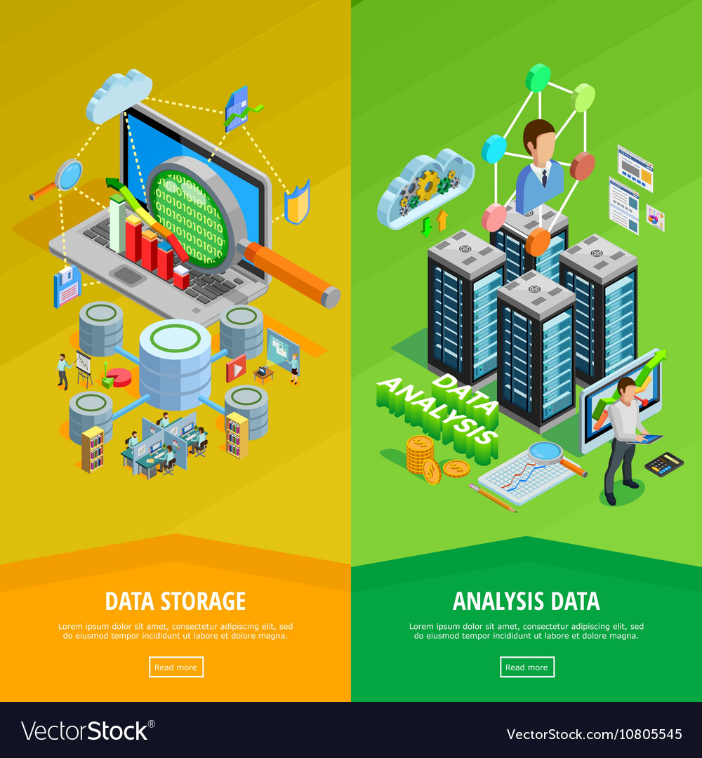 Data analysis 2 vertical isometric banners vector
