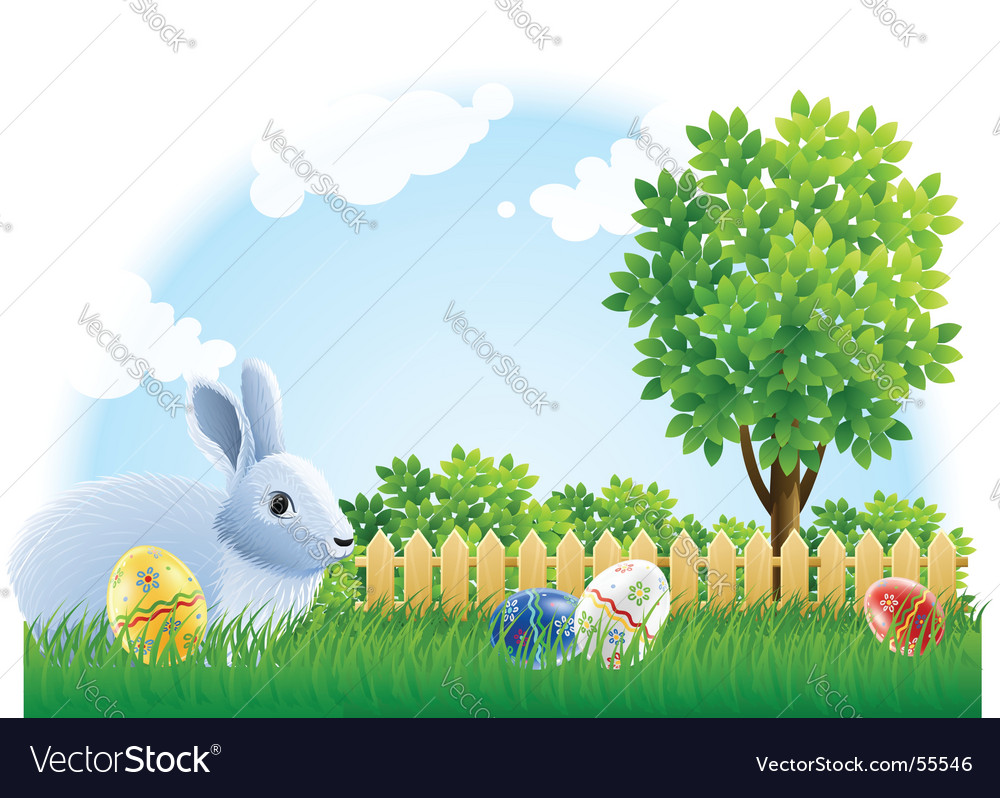 Easter rabbit and eggs vector