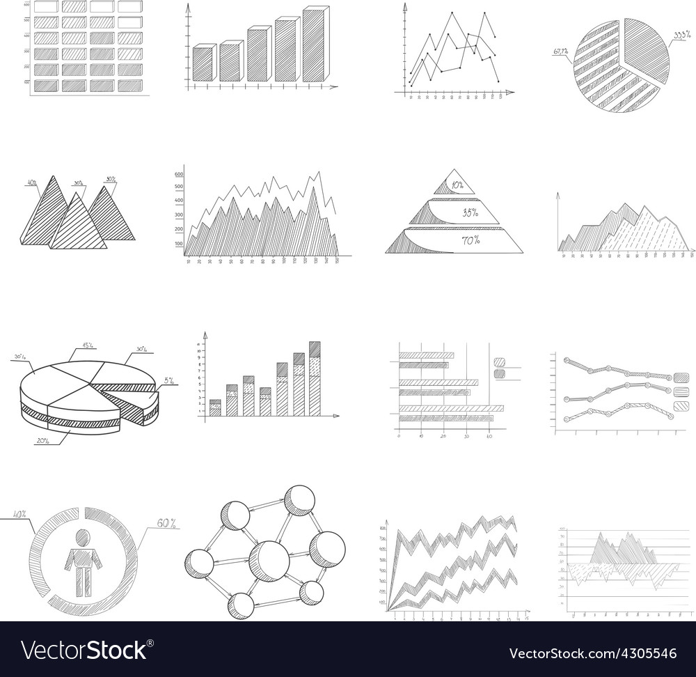 Sketch diagrams set vector