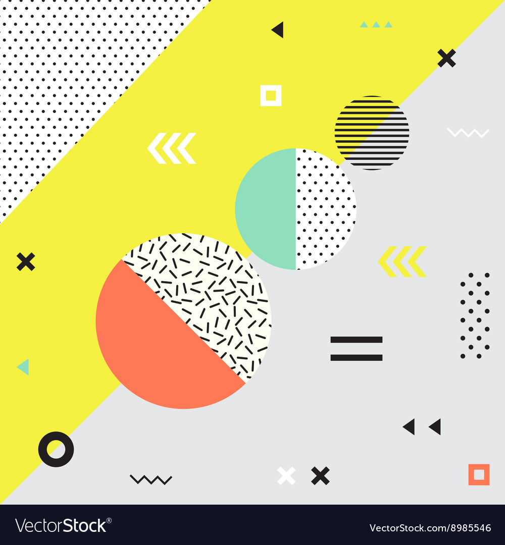 Trendy geometric elements memphis cards vector