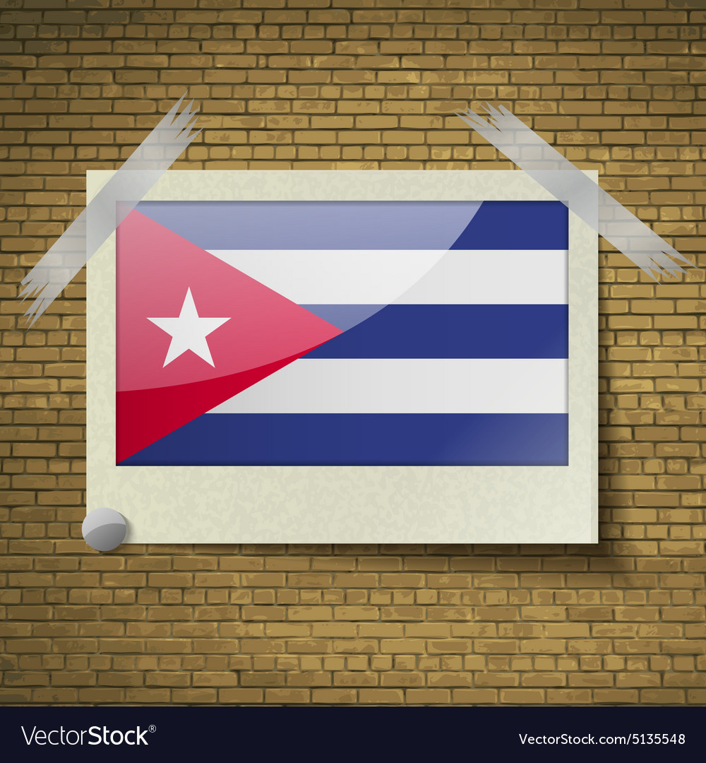 Flags cuba at frame on a brick background vector
