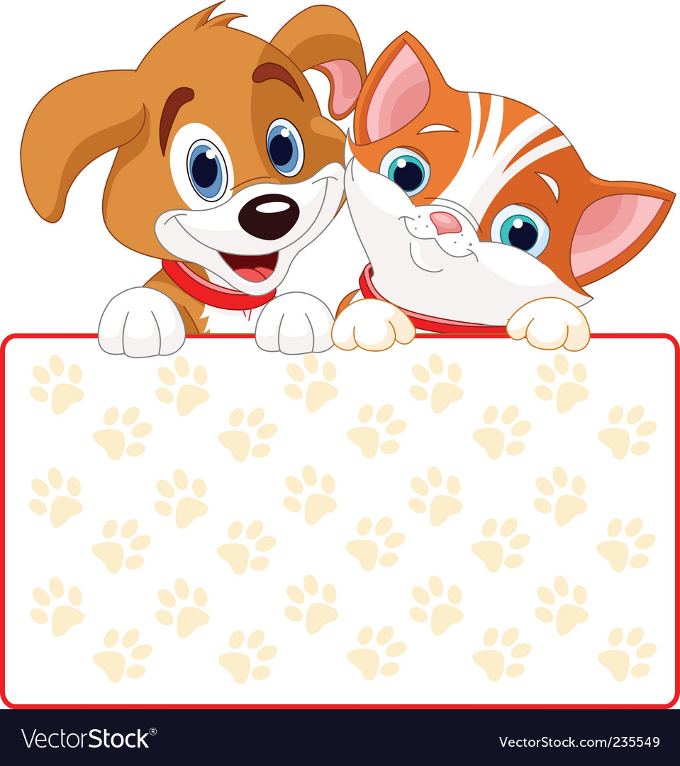 Cat and dog sign vector