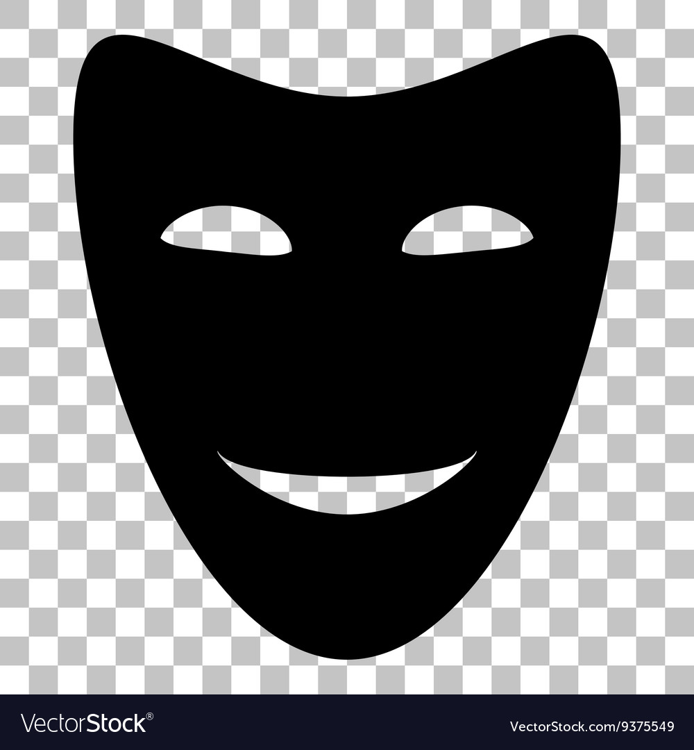 Comedy theatrical masks flat style black icon on vector