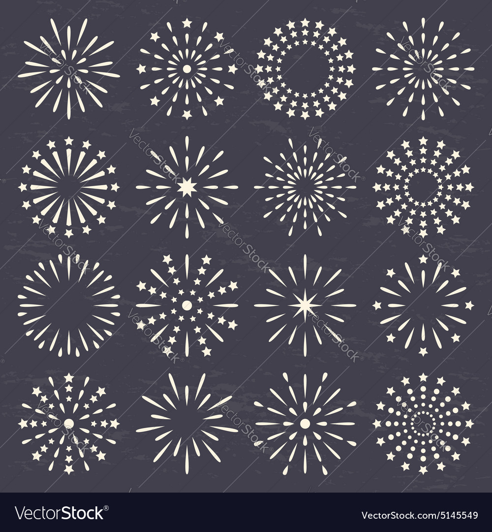 Fireworks set vector