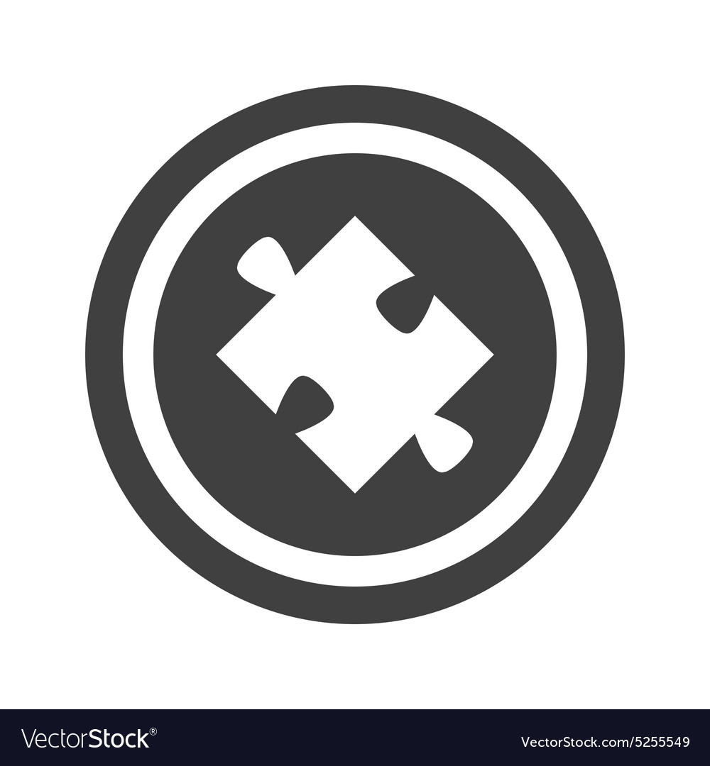 Round black puzzle sign vector