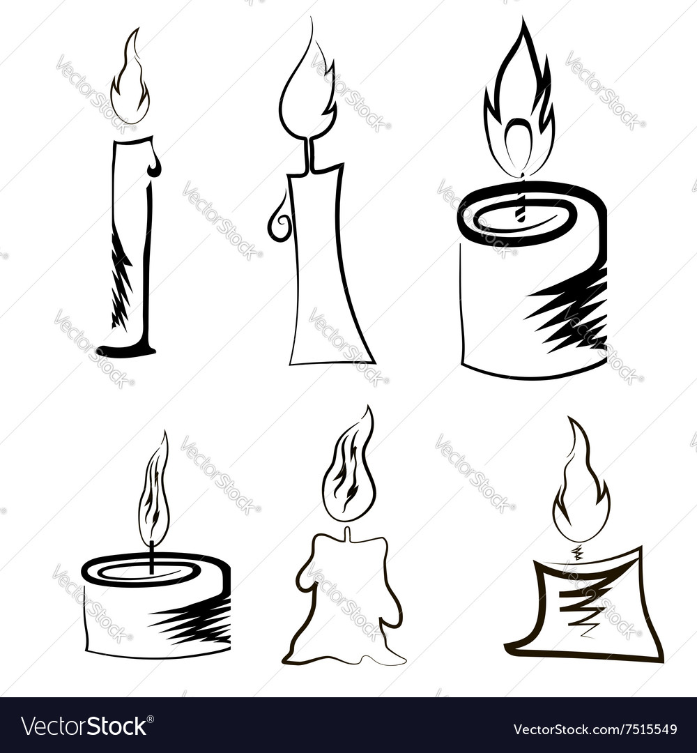 Set of different burning retro candles vector