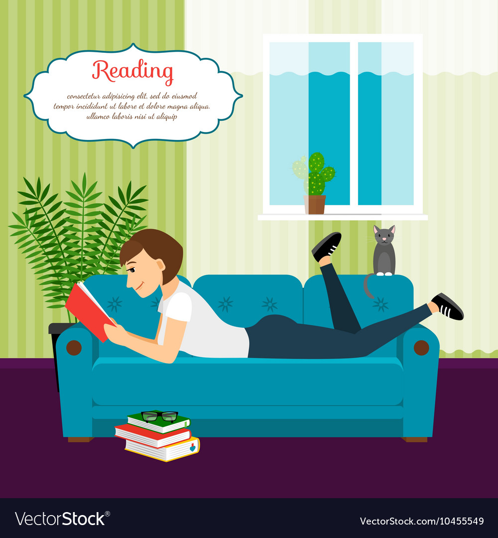 Woman with book on sofa vector