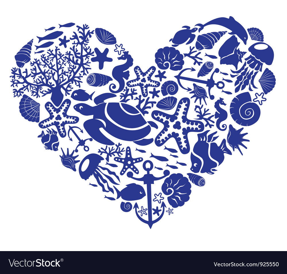 Heart is made of fishes corals shells vector