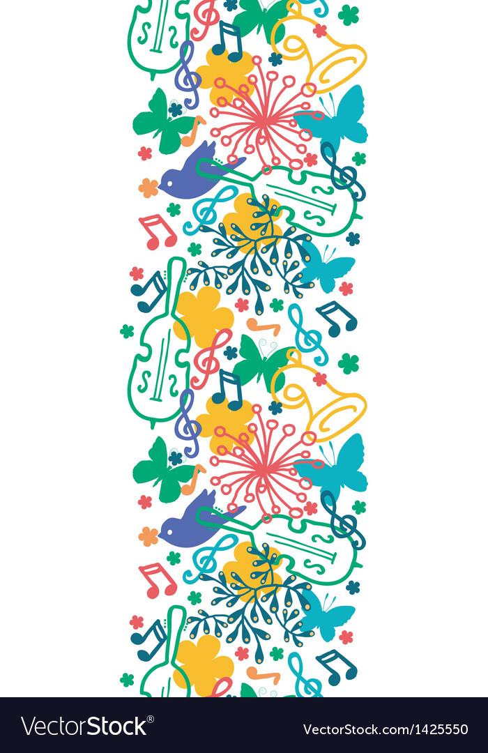 Spring music symphony vertical seamless pattern vector