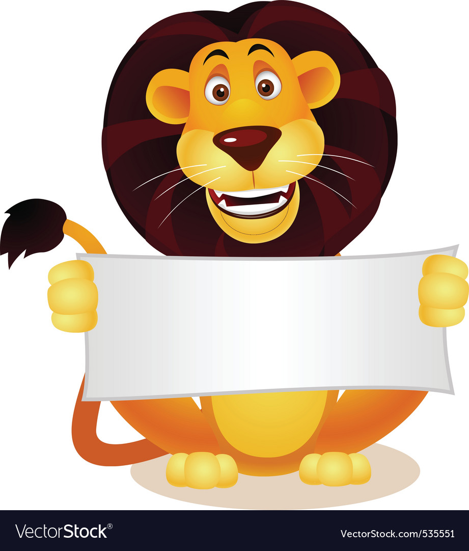 Lion and blank sign vector