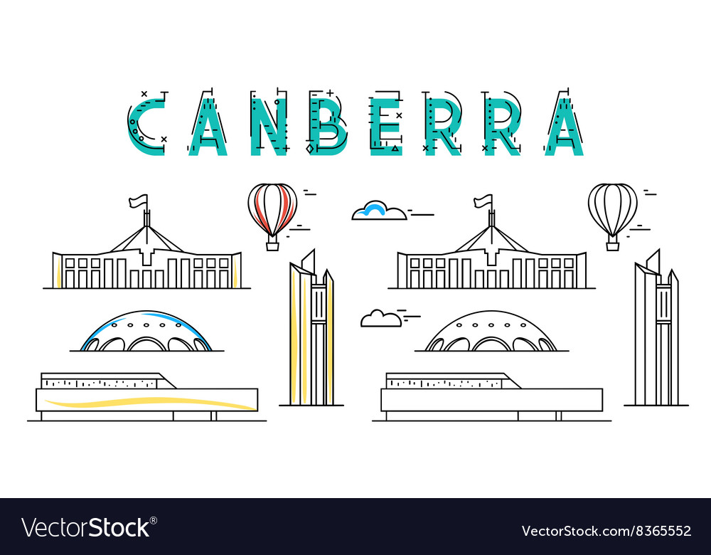 Canberra capital city australia sights of vector