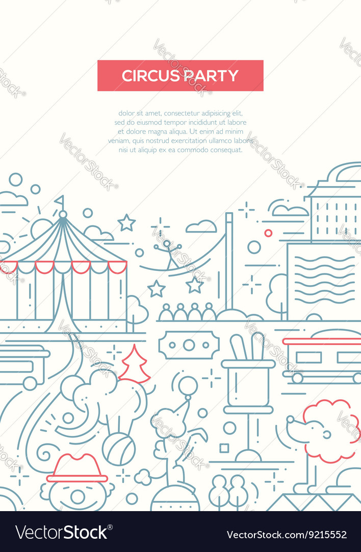 Circus carnival party line design composition vector