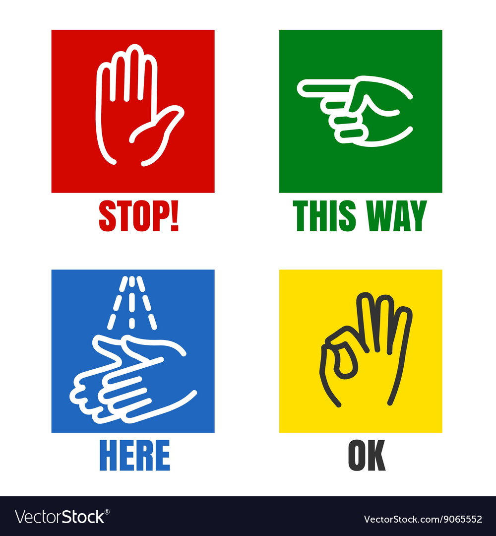 Hands signs icons vector