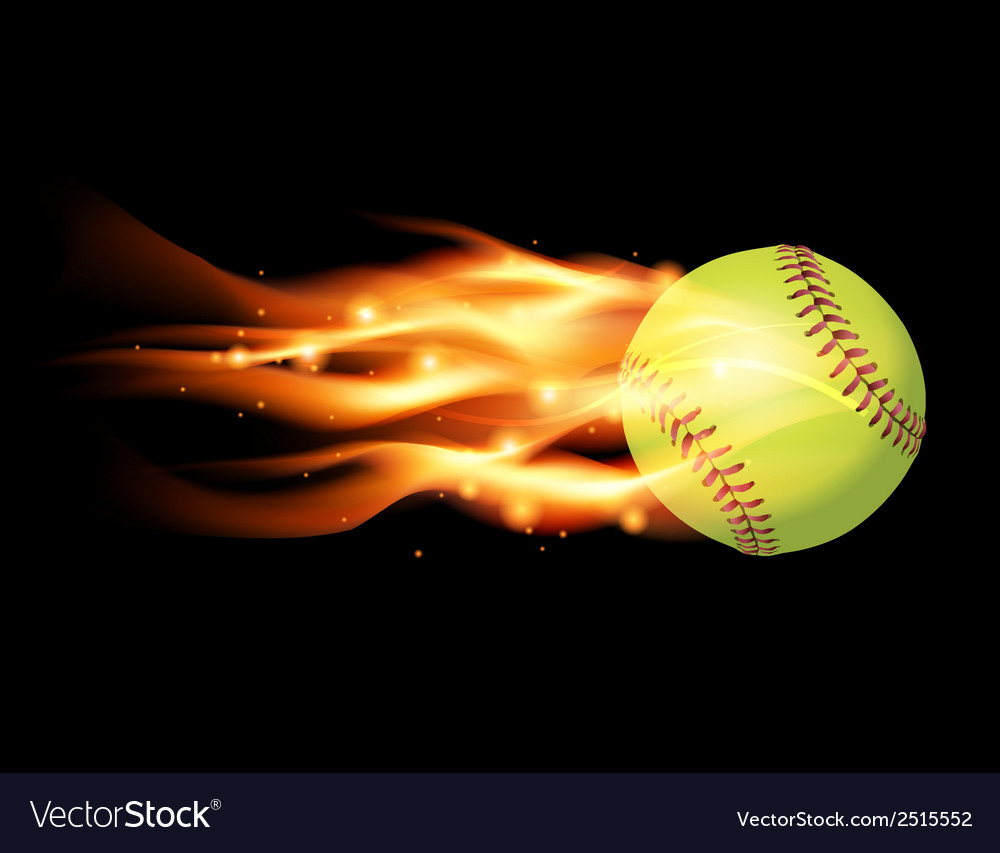 Softball on fire vector