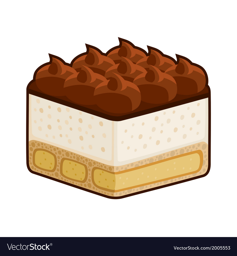 Dessert tiramisu with amaretto isolated on white vector