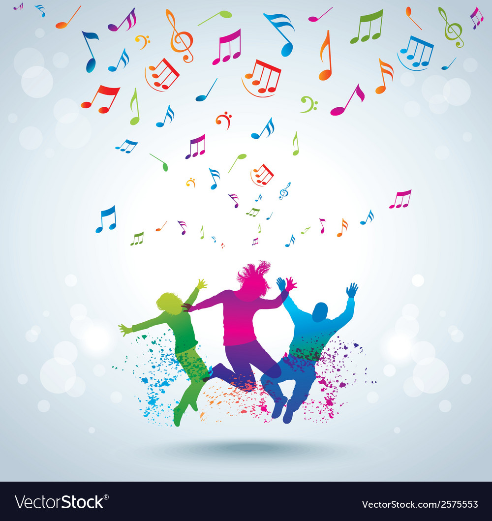 Music and young people vector