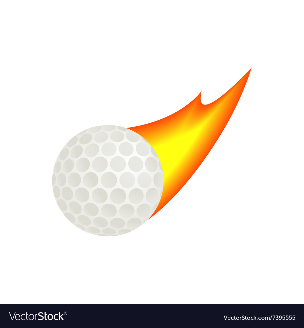 Burning golf ball isometric 3d icon vector