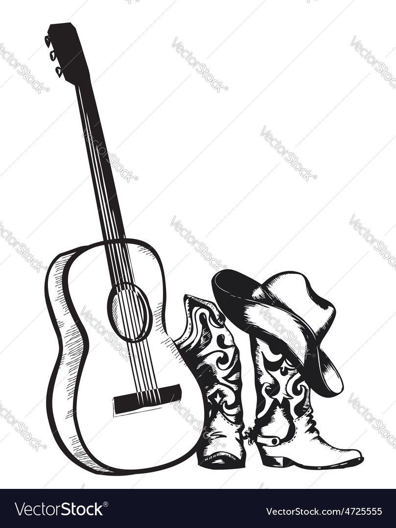 Cowboy boots and music guitar isolated on white vector