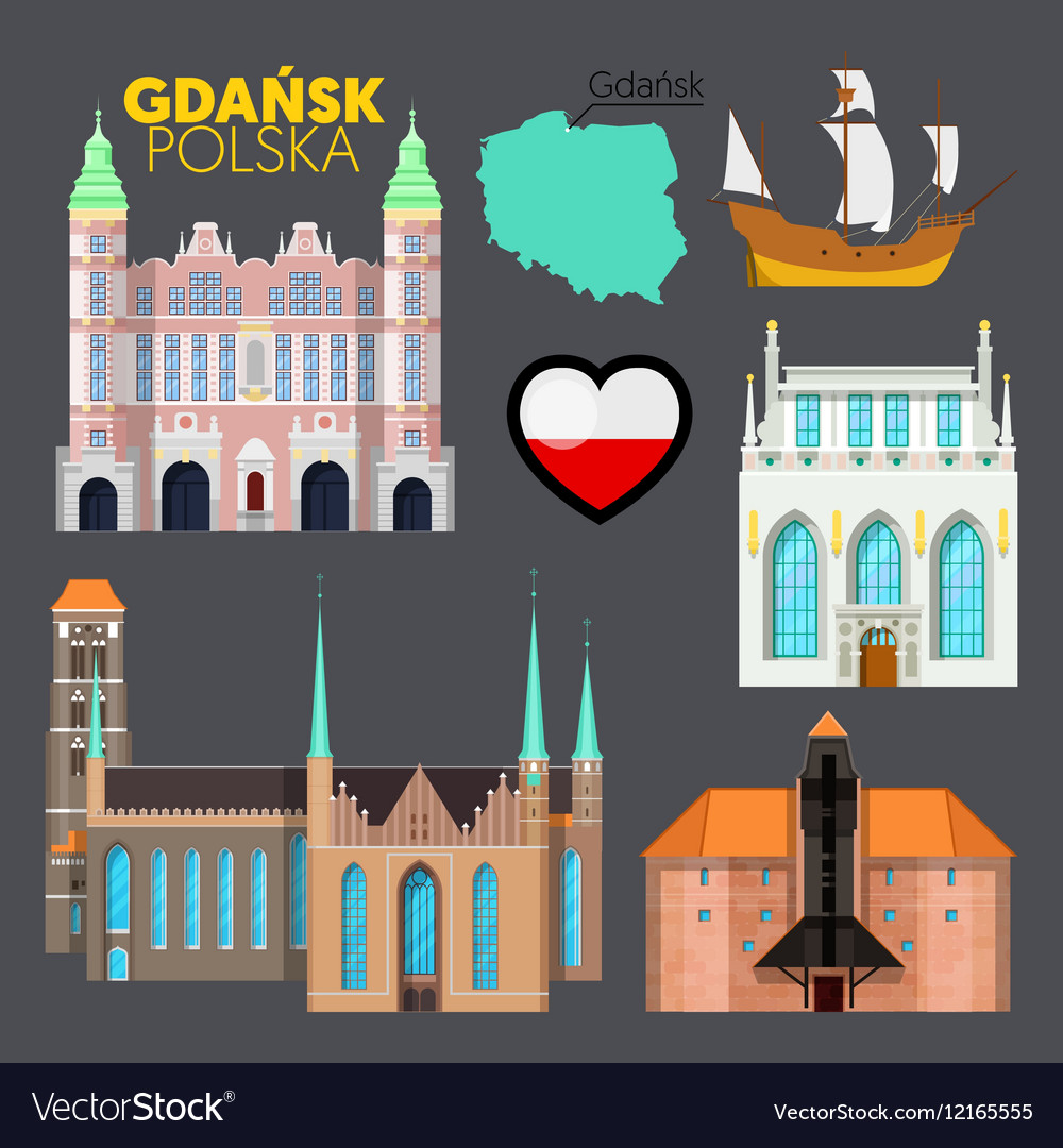 Gdansk poland travel doodle with architecture vector