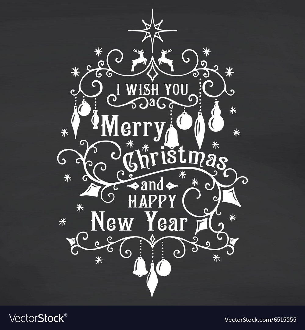 I wish you a merry christmas lettering on vector