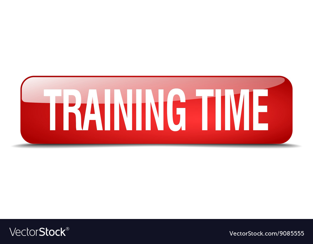 Training time red square 3d realistic isolated web vector