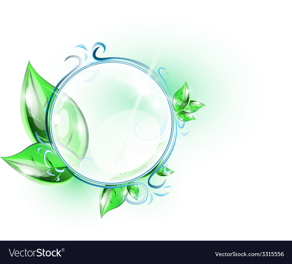 Glass sphere with green leaves vector