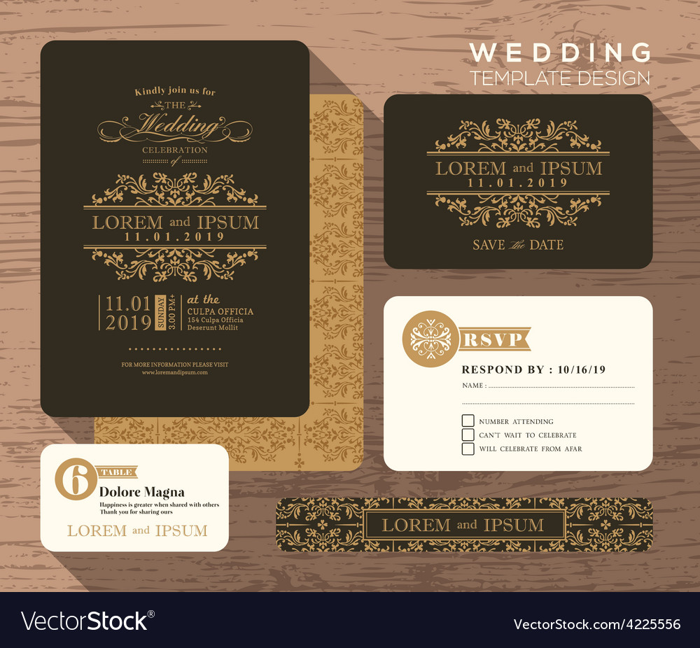 Vintage classic wedding invitation vector