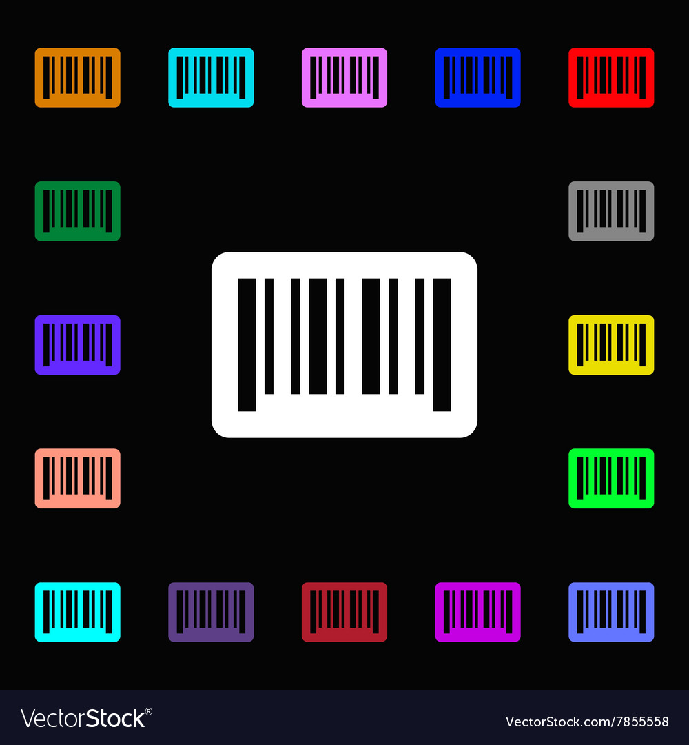 Barcode icon sign lots of colorful symbols for vector
