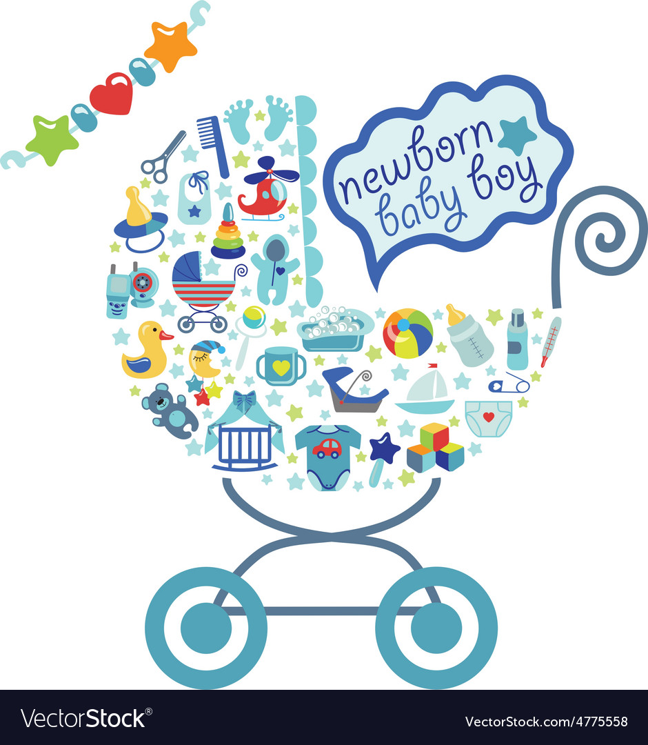 Newborn baby boy icons in form of carriage vector