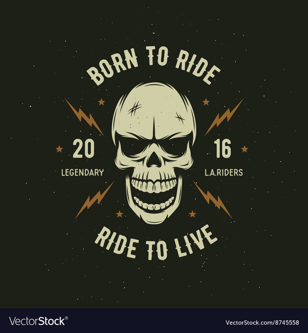 Vintage motorcycle tshirt graphics born to ride vector