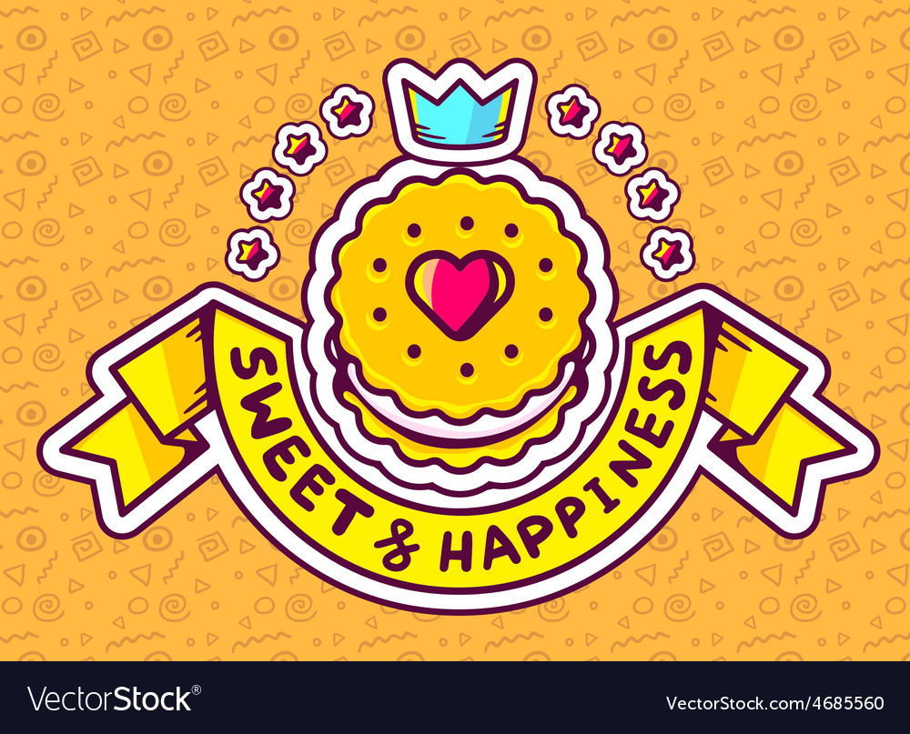 Cookie top view with text sweethappiness vector