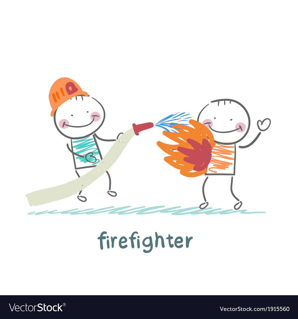 Firefighter quenches a burning man vector