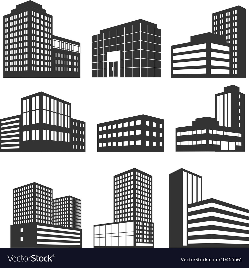 Modern business buildings black icons vector