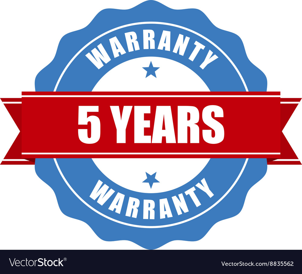 Five years warranty seal  round stamp vector