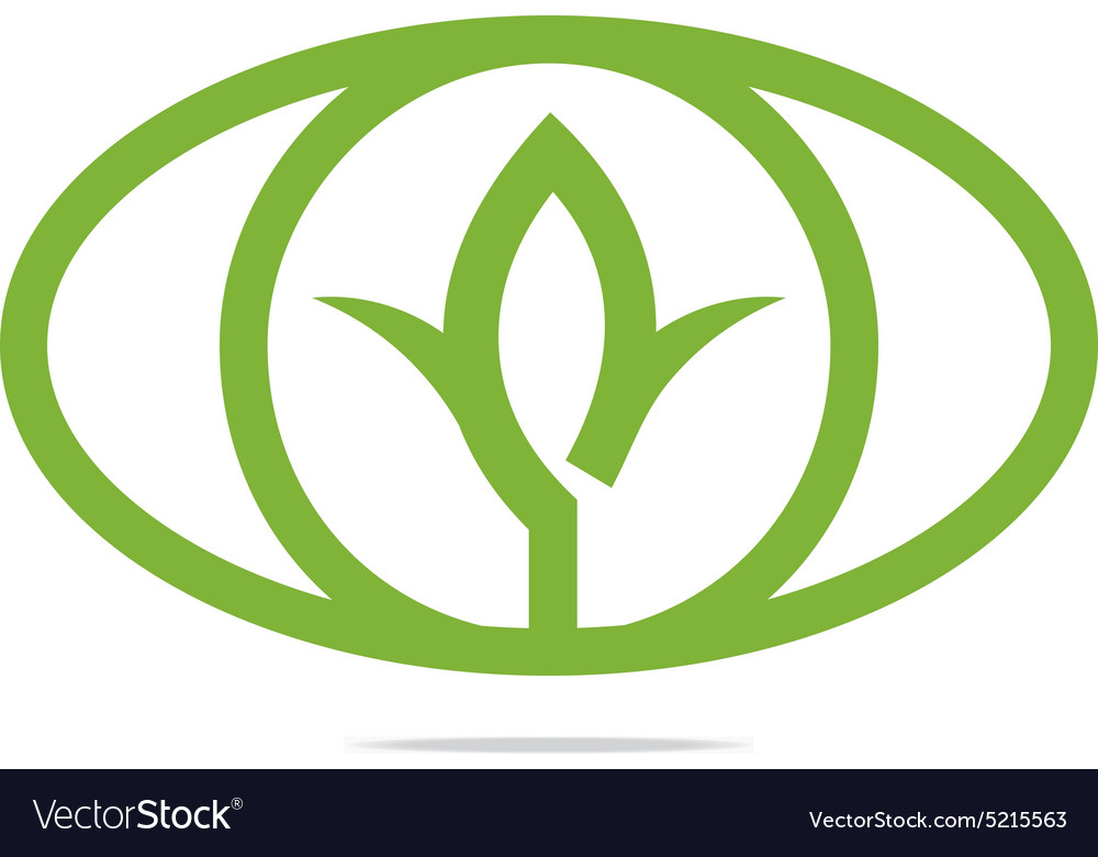 Abstract logo leaves green ecology oval design vector