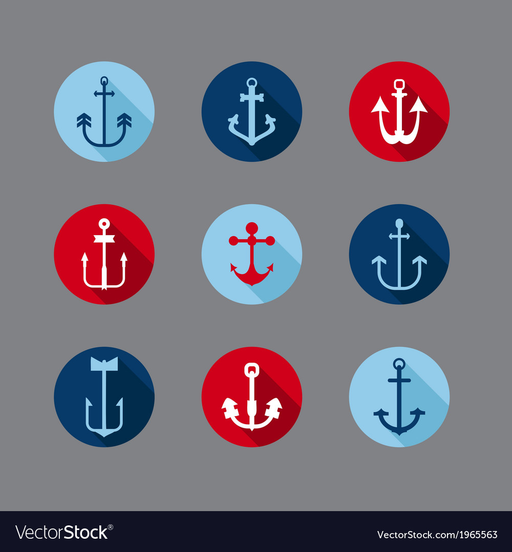 Set of anchor nautical icons vector
