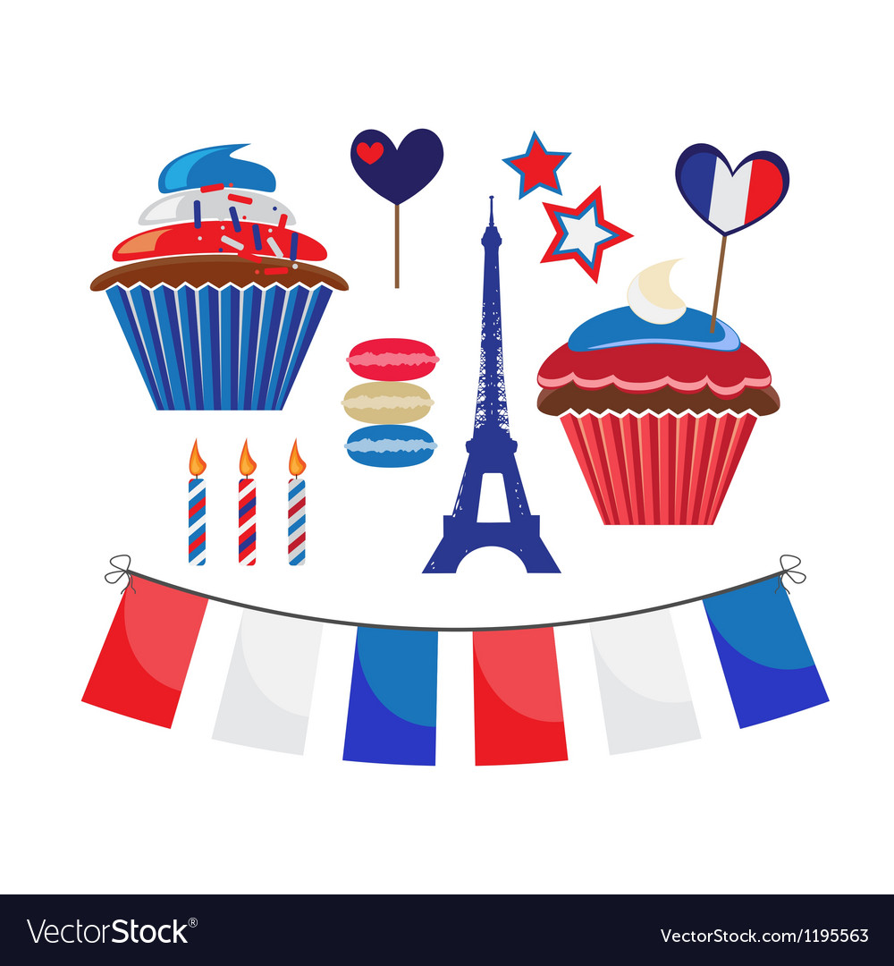 Set of icons for french style party vector