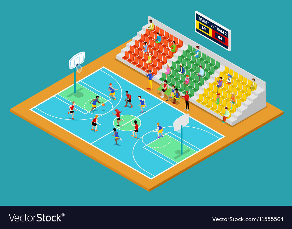 Isometric basketball playground with players vector