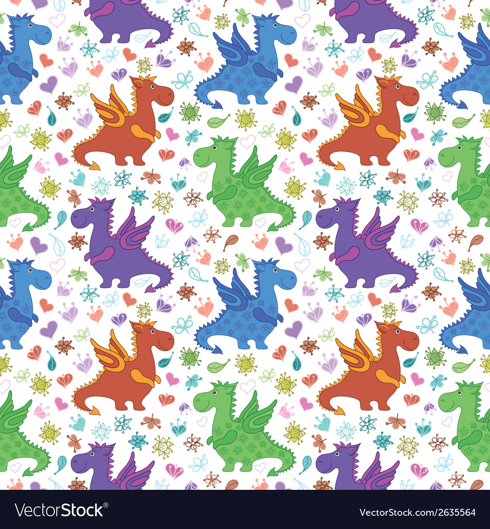 Seamless pattern cartoon colorful dragons vector