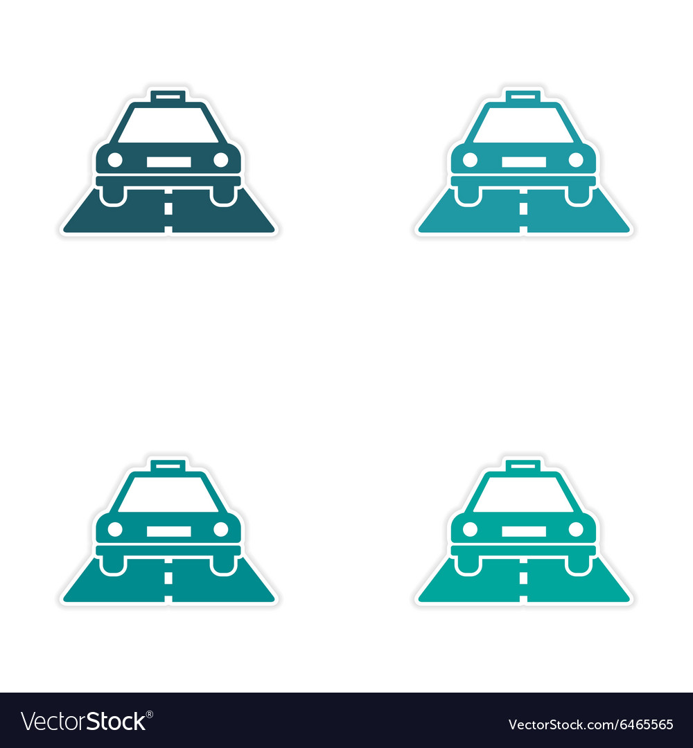 Assembly realistic sticker design on paper taxi vector