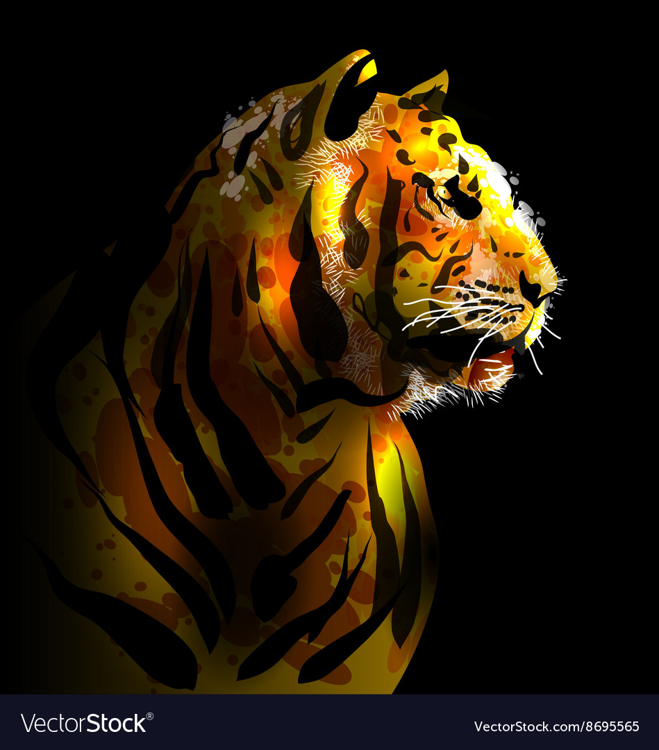 Digital painting of a tigers head vector