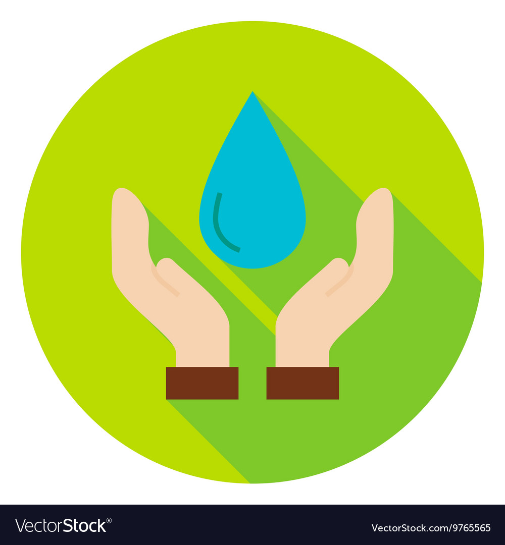 Hands save the planet water circle icon vector