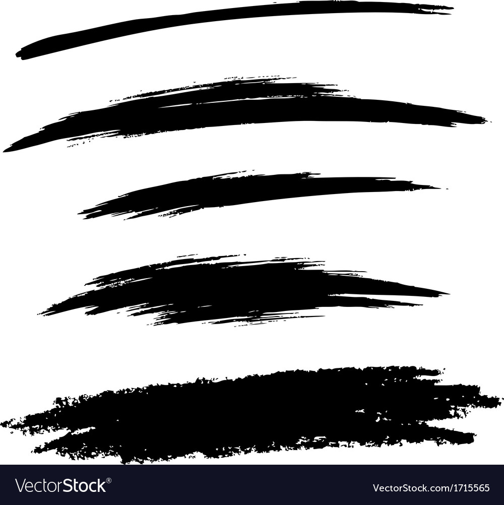 Set of hand drawn grunge brush lines vector