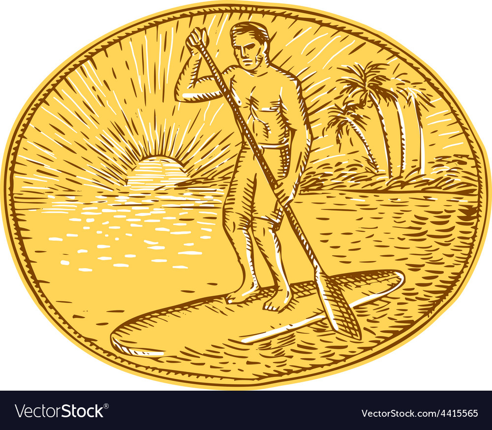 Stand up paddle boarding surfing etching vector