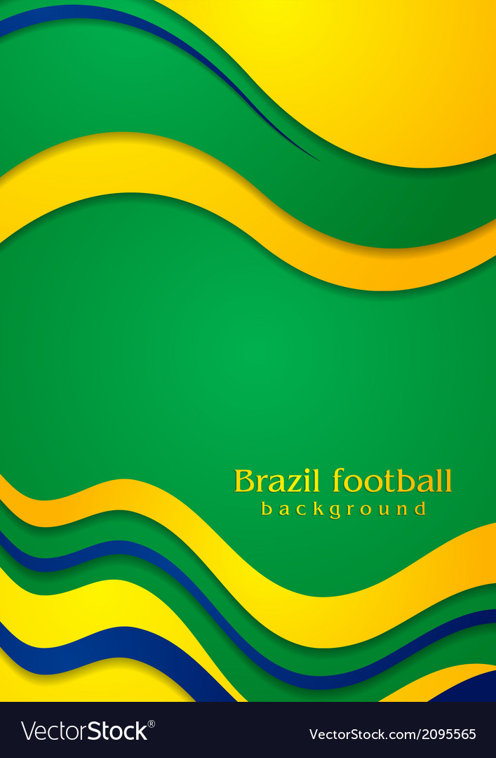 Waves background in brazilian colors vector