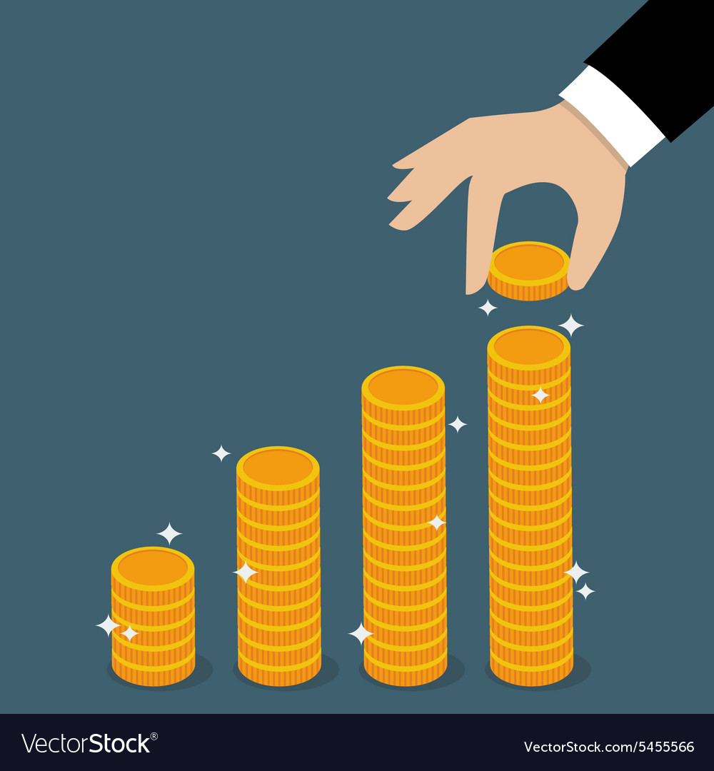 Business hand holding coin vector